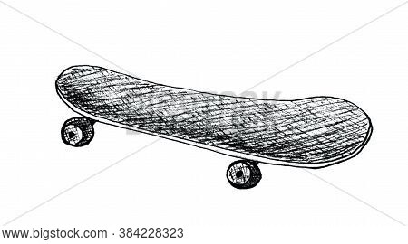 Skateboard , Longboard, Pennyboard Isolated On White Background. Engraved Style Illustration For Pos