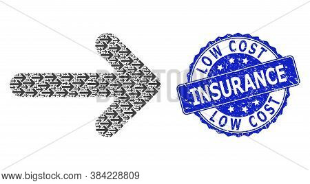 Low Cost Insurance Corroded Round Stamp Seal And Vector Fractal Collage Right Arrow. Blue Stamp Seal