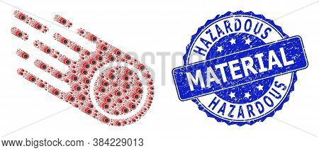 Hazardous Material Scratched Round Stamp Seal And Vector Recursive Collage Falling Meteorite. Blue S