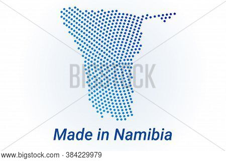 Map Icon Of Namibia. Vector Logo Illustration With Text Made In Namibia. Blue Halftone Dots Backgrou