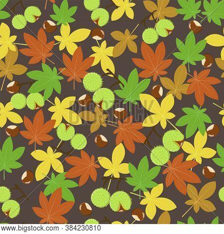 Autumn Leaves Of Chestnut Tree Aesculus Hippocastanum Pattern
