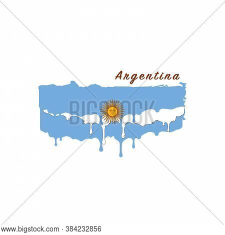 Painted Argentina Flag, Argentina Flag Paint Drips. Stock Vector Illustration Isolated On White Back