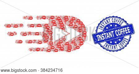 Instant Coffee Unclean Round Seal Print And Vector Fractal Mosaic Rewind Forward. Blue Stamp Seal Co