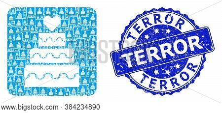 Terror Rubber Round Stamp Seal And Vector Recursive Mosaic Marriage Cake. Blue Stamp Seal Has Terror