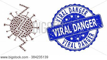Viral Danger Corroded Round Stamp Seal And Vector Fractal Composition Virus Break. Blue Stamp Seal C