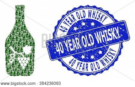 40 Year Old Whisky Unclean Round Stamp Seal And Vector Recursive Composition Wine Bottle. Blue Stamp