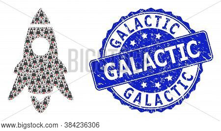Galactic Rubber Round Stamp And Vector Recursive Collage Rocket Start. Blue Seal Contains Galactic T