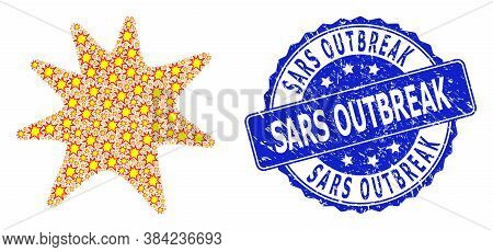 Sars Outbreak Corroded Round Seal And Vector Recursion Mosaic Exploding Boom. Blue Seal Includes Sar