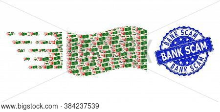Bank Scam Dirty Round Seal Imitation And Vector Recursive Collage Flying Dollar Banknote. Blue Seal