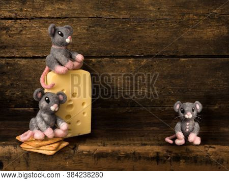 Digital backdrop for composite images of an antique wooden shelf with cheese and three stuffed mice