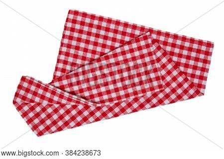 Towels Isolated. Close-up Of Red And White Checkered Napkin Or Picnic Tablecloth Texture Isolated On