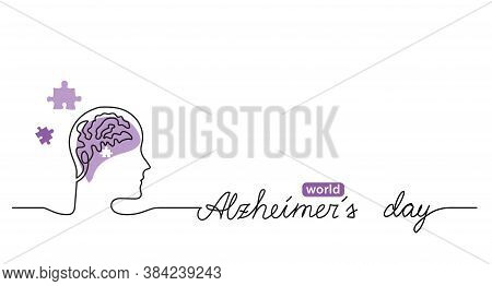 Alzheimer S Day Simple Background, Web Banner, Poster With Brain And Puzzle. One Continuous Line Dra
