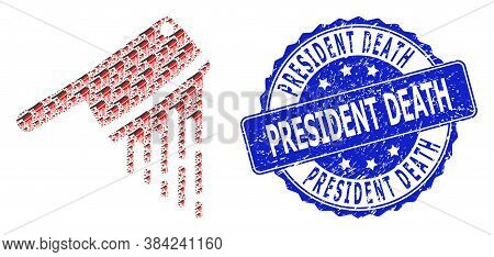President Death Grunge Round Stamp Seal And Vector Fractal Mosaic Blood Butchery Knife. Blue Stamp S