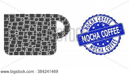 Mocha Coffee Rubber Round Stamp Seal And Vector Recursive Composition Cup. Blue Stamp Seal Has Mocha