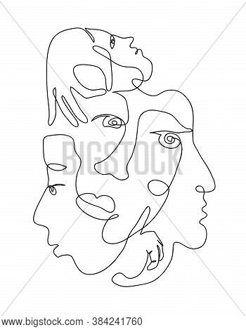 Continuous Hand Drawing Style Art. Black And White Abstract Composition With People Portrets And Bod