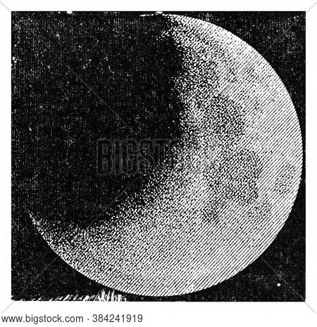 Partial eclipse of the moon, From the Dictionary of Word and Things, 1888.