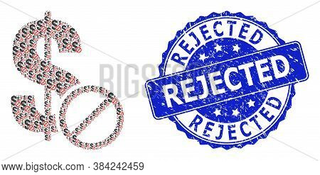 Rejected Scratched Round Stamp Seal And Vector Recursion Collage Forbidden Dollar. Blue Stamp Seal H