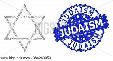 Judaism Scratched Round Seal Imitation And Vector Recursion Mosaic David Star. Blue Stamp Seal Inclu