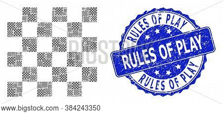 Rules Of Play Textured Round Stamp Seal And Vector Fractal Collage Chess Board. Blue Seal Has Rules