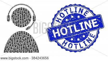 Hotline Scratched Round Seal And Vector Recursion Mosaic Call Center Operator. Blue Seal Includes Ho