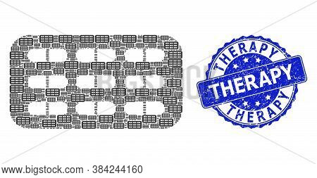 Therapy Grunge Round Seal Print And Vector Fractal Collage Pill Blister. Blue Stamp Seal Includes Th