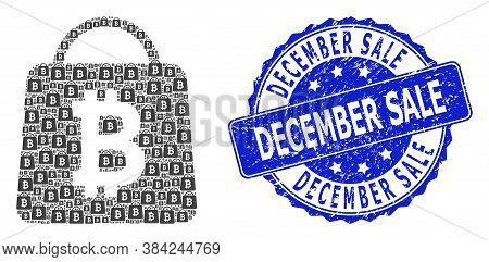 December Sale Rubber Round Stamp Seal And Vector Recursive Composition Bitcoin Shopping Bag. Blue St