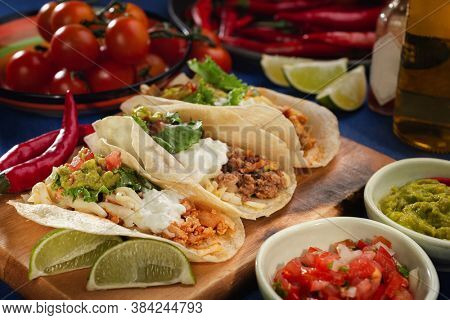 Mexican food - delicious taco shells with ground beef, chicken, vegetables. Banner menu