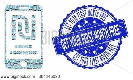 Get Your First Month Free Grunge Round Stamp Seal And Vector Fractal Collage Shekel Mobile Account.