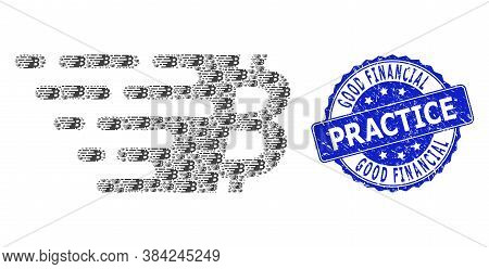 Good Financial Practice Dirty Round Stamp And Vector Recursive Mosaic Bitcoin Symbol. Blue Stamp Sea