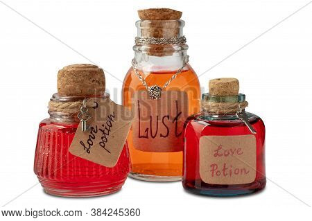 Vintage Bottles With Love And Lust Potions On White Background, Isolated