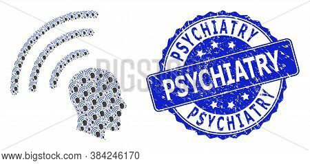 Psychiatry Scratched Round Seal Print And Vector Recursive Mosaic Telepathy Waves. Blue Seal Contain