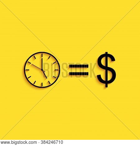 Black Time Is Money Icon Isolated On Yellow Background. Money Is Time. Effective Time Management. Co