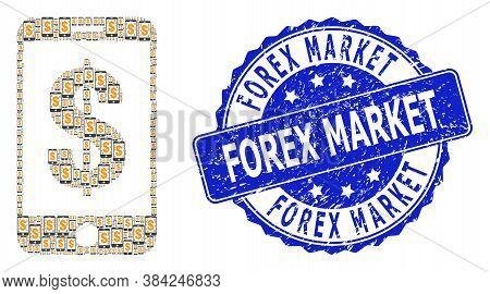 Forex Market Rubber Round Stamp Seal And Vector Fractal Mosaic Mobile Dollar Bank. Blue Stamp Includ