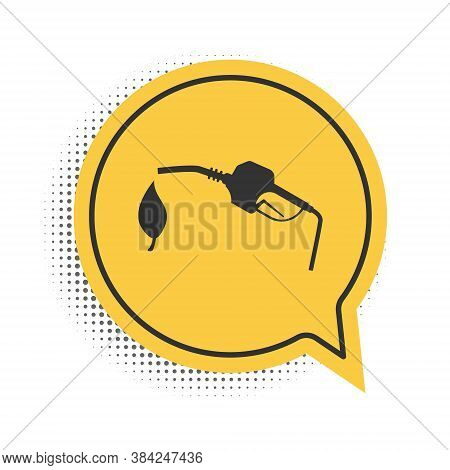 Black Bio Fuel Concept With Fueling Nozzle And Leaf Icon Isolated On White Background. Natural Energ