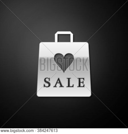 Silver Shoping Bag With An Inscription Sale Icon Isolated On Black Background. Handbag Sign. Woman B