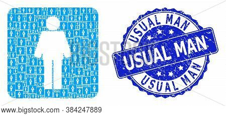Usual Man Rubber Round Stamp Seal And Vector Recursive Mosaic Man. Blue Stamp Seal Has Usual Man Tex