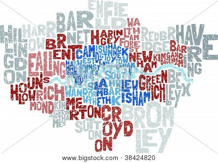 abstract Vector illustration of all the London Boroughs and the river thames depicted through text. poster