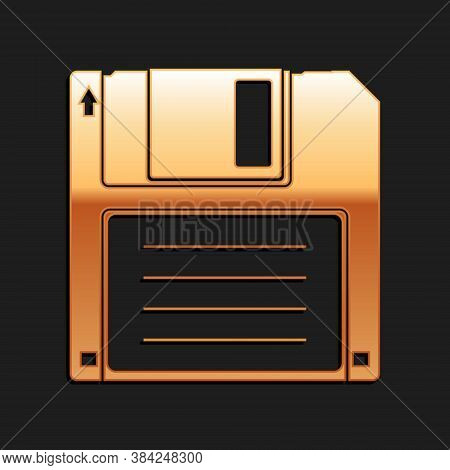 Gold Floppy Disk For Computer Data Storage Icon Isolated On Black Background. Diskette Sign. Long Sh