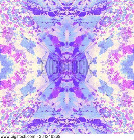 Tie Dye Effects. Colorful Seamless Tie Dye Pattern. Purple Tie And Dye Texture. Wash Fabric. Gentle