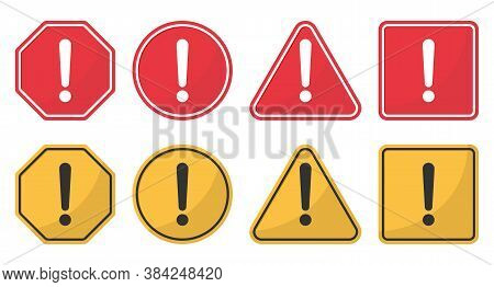 Hazard Attention Sign Set. Collection Yellow And Red Of Signs With With Exclamation Mark In Circle,