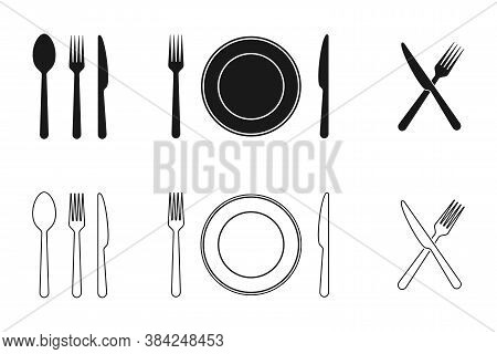 Plate, Knife, Fork And Spoon Icons Set. Tableware Flat And Line Icons Collection. Vector Illustratio