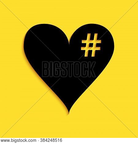 Black The Hash Love Icon. Hashtag Heart Symbol Icon Isolated On Yellow Background. Long Shadow Style