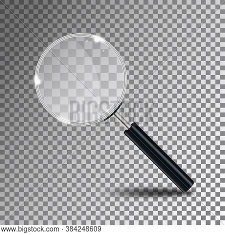 Magnifying Glass. Magnify Glass Lens At Transparent Background With Shadow. Vector Illustration.