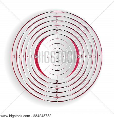 Paper Cut Target Sport For Shooting Competition Icon Isolated On White Background. Clean Target With
