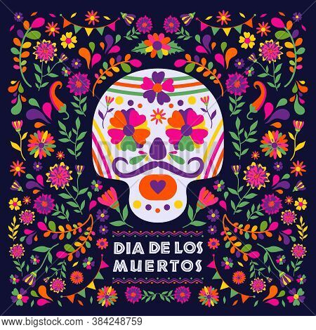 Dias De Los Muertos Typography Banner Vector. Mexico Design For Fiesta Cards Or Party Invitation, Po