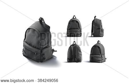 Blank Black Backpack With Zipper And Strap Mockup, Different Views, 3d Rendering. Empty Student Canv