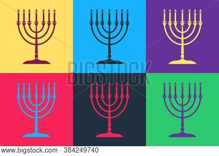 Pop Art Hanukkah Menorah Icon Isolated On Color Background. Religion Icon. Hanukkah Traditional Symb