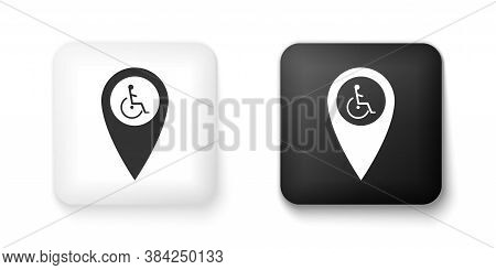 Black And White Disabled Handicap In Map Pointer Icon Isolated On White Background. Invalid Symbol.