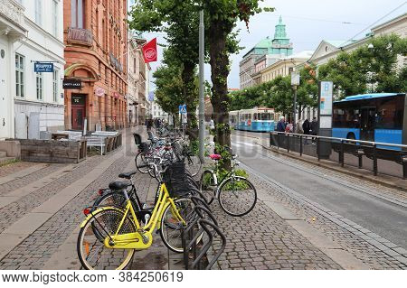 Gothenburg, Sweden - August 27, 2018: People Visit Inom Vallgraven District In Gothenburg, Sweden. G