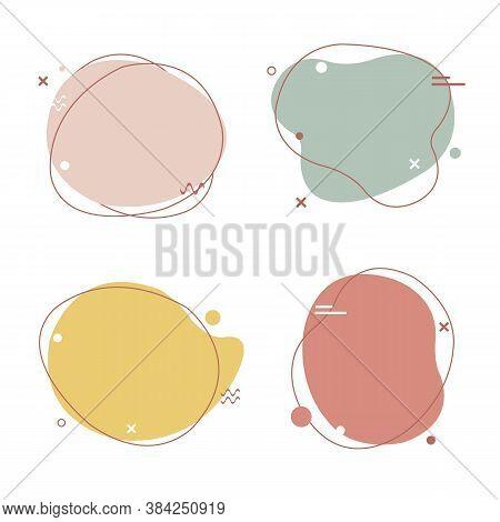 Simple Pastel Speech Bubbles Set Isolated, Vector Illustration